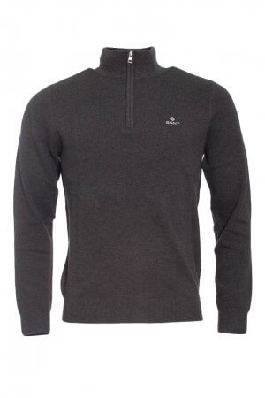 Gant Cotton Pique Half Zip - Antracit Melange