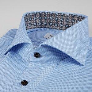 Stenströms Fitted Body Shirt Houndstooth Medallion Contrast - Light Blue