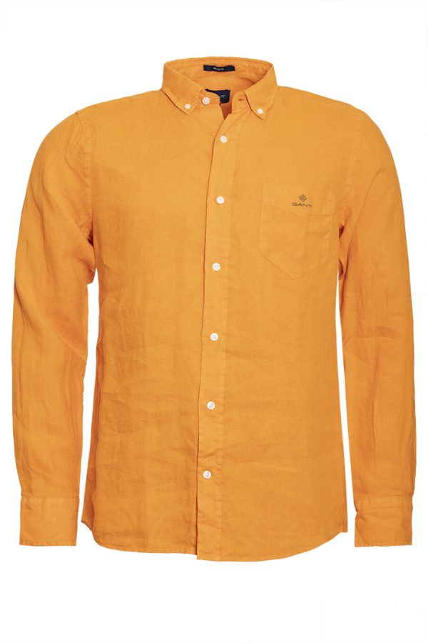 Gant Regular Fit Plaggfärgad linneskjorta - Russet Orange