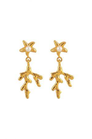 Hultquist Mini coral leaf earrings - Guld