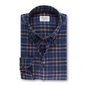 Fitted Body Flanellskjorta Rutig - Blå