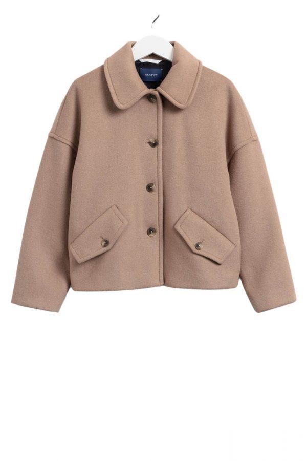 Gant Wool Blend Cropped Jacket - Warm Khaki