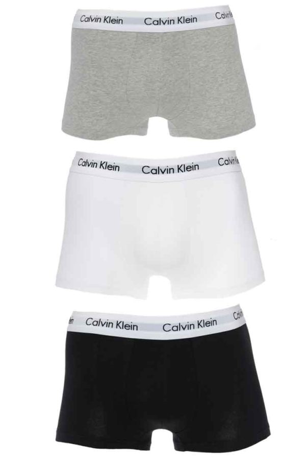 Calvin Klein Cotton Stretch Trunk 3-pack - Vit/Svart/Grå